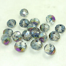 New CLEAR purple ab Faceted 100pcs Rondelle exquisite crystal #5040 4mm Beads*