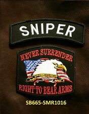 SNIPER and NEVER SURRENDER Small Badge Patches Set for Biker Vest Jacket