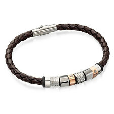 Fred Bennett Brown Leather Bracelet with Steel & Rose Gold Beads [B4544]