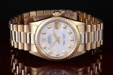 Rolex Midsize Yellow Gold President 6827, Mother of Pearl Diamond Dial.