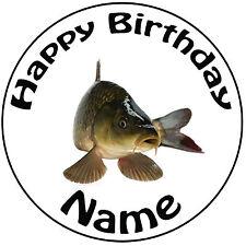 """Pesca De Carpa Pescado Personalizado Redondo 8"""" Glaseado Cumpleaños Pastel Topper-fácil precortada"""