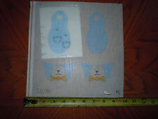 Discounted Hand Painted Needle Point  Canvas Blue Baby Bunny Slippers