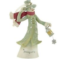 """Gina Freehill SNOWMAN / WOMAN Bell Bottom 4"""" Tall Hanging Ornament NEW IN BOX"""