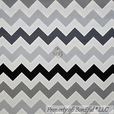 BonEful Fabric FQ Cotton Quilt Gray Black White Chevron STRIPE Calico Girl Boy L