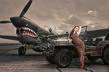 Wings of Angels Malak Pin Up WWII P-40E Warhawk & Jeep Limited Ed. 13X19 Print