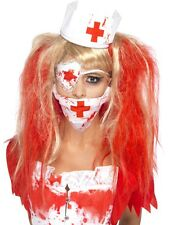 Bloody Nurse Kit mask headpiece eyepiece with blood Halloween Ladies Fancy Dress
