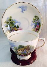 VTG Royal Vale Bone China Tea Cup/Saucer Cottage Scene ENGLAND