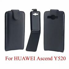 Black PU Leather Flip Case Cover Protector Skin Open up F Huawei Ascend Y520 520