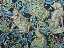 William Morris Curtain/Upholstery Fabric 'Forest' 2.6 METRES 260cm Indigo Linen
