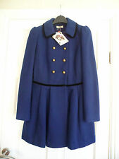"ASOS - Stunning French Navy & Blk Velour ""Victorian"" Dolly Coat Size 10 new"