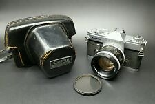CANON PELLIX QL All-Manual Film Camera w/ Canon FL Lens & Leather Case (works)