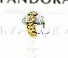 790179 - *RETIRED* NEW AUTHENTIC PANDORA SS SATURN FLOWER w/ 14K GOLD CHARM/BEAD