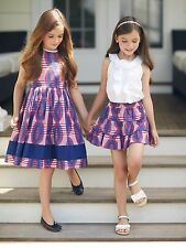 New Oscar de la Renta Girl's Ruby Blue White STRIPE IKAT COTTON PARTY Dress 5