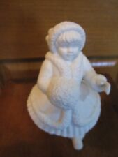 Department 56 Girl In Winter Dress Holding Muff White Figurine