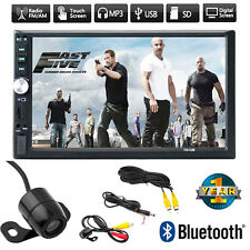 """7"""" Double 2DIN Car MP5 MP3 Player Bluetooth Touch Screen Stereo Radio HD+Cam WA"""