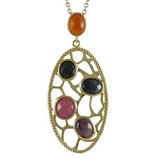 Gold-tone Sterling Silver Semi-precious Gemstone Filigree Oval Necklace
