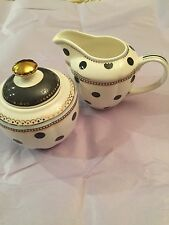 2pc. Grace TeaWare Creamer & Covered Sugar Bowl all w/ Black And Withe And Gold