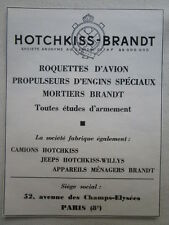 1960'S PUB HOTCHKISS BRANDT JEEP ROQUETTE AVION MORTIER CAMION FRENCH AD