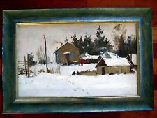 ANTIQUE RUSSIAN IMPRESSIONISM PAINTING OIL LANDSCAPE SAVELIEV COUTRY SIDE WINTER