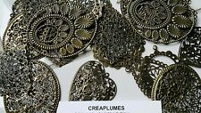 Lot de 10 pendentifs en filigrane bronze antique  20~70x7~60x0.2~1 mm
