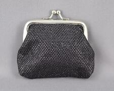 "Black sparkly coin change purse pouch kiss lock snap top 3.75"" wide"