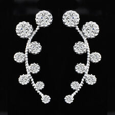 womens Silver Plated swarovski crystal leaf ear cuff stud earrings statement