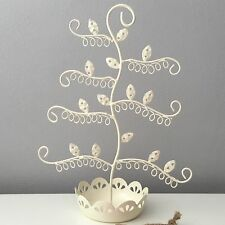 SASS & BELLE VINTAGE CREAM SHABBY CHIC WIRE JEWELLERY EARRING STAND TREE GIFT