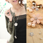 New Fashion Butterfly Flower Pearl Crystal Pendant Sweater Long Chain Necklace #