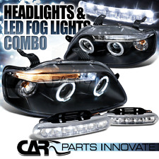 04-08 Chevy Aveo 4/5Dr Black LED Halo Projector Headlights+LED Fog Bumper DRL