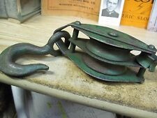 DOUBLE STEEL pulley cast iron tool block and tackle hay loft OLD FARM steam punk