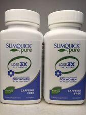 2x SlimQuick Pure CAFFEINE FREE for Women Weight / Fat Loss + Green Tea 06/17+