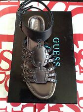Guess By Marciano Pewter Leather Flat Sandals Open Toe Size 7.5