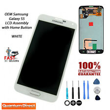 OEM Samsung Galaxy S5 (SM-G900F) LCD & Digitiser Assembly with Home Button WHITE