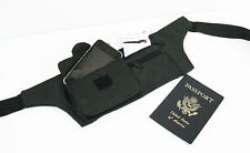 Black Leather Slim Hidden Fanny Pack Money belt Holder Waist Bag Travel R3096 NR
