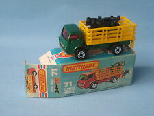 Lesney Matchbox Superfast 71 Cattle Truck Green Body Black Cows