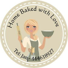 24 GLOSS PERSONALISED STICKERS FOR, BAKING, CAKE MAKING, COOKING BUSINESS