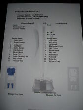 1967 Inter Cities Fairs Cup Final (1) Dinamo Zagreb v Leeds United  Matchsheet