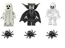 LEGO Glow in the Dark Ghost, Dracula & Skeleton Minifigures with Spiders NEW