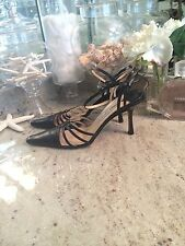 $795*** Jimmy Choo Strappy Pointy Black Leather Sandals -  8 US/ EUR 38