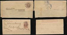 GB QV STATIONERY NEWSPAPER WRAPPERS to GERMANY c1880s J.G SUHR + WEINBERG