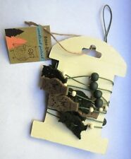 NEW Shabby Chic Rustic Felt Beaded Owl Autumn Hanging Garland Decoration NO P&P