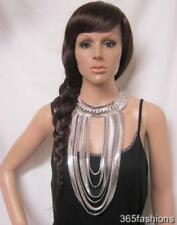 STATEMENT CHUNKY MULTI CHAIN LONG DRAPE LAYERED RHINESTONE BIB NECKLACE SILVER