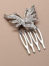 DIAMANTE HAIR comb GRIPS CLIP SLIDE WEDDING,4409 BUTTERFLY CRYSTAL LADIES BRIDAL