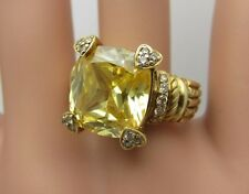 Judith Ripka solid 18K yellow gold ring 13 mm. Canary Crystal diamond citrine