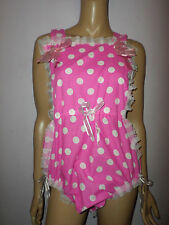 ADULT BABY SISSY ROMPER SUIT PINK WHITE SPOTTY LACE   BIB TOP BOWS 30-45  WAIST