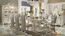 """Versailles Formal White 9pc Luxury 120"""" Dining Room Set"""