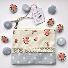10 Shabby Chic Rose Floral & Polka Dot Fabric Buttons in Matching Gift Purse