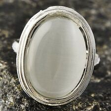 Womens Mens White Gold Plated Huge Oval Opal Cocktail Ring Adjustable Size 6