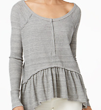 FREE PEOPLE WE THE FREE COASTLINE GRAY LONG SLEEVE THERMAL HENLEY PEPLUM TOP L