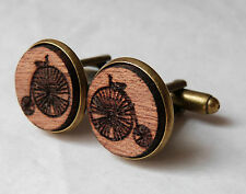 Penny Farthing Bicycle Vintage Style Wood Mahogany Cufflinks Antique Brass